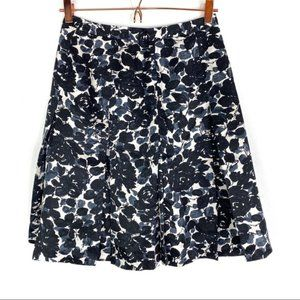 J. Crew Silk Floral Pleated Skirt Black Gray Sz 2